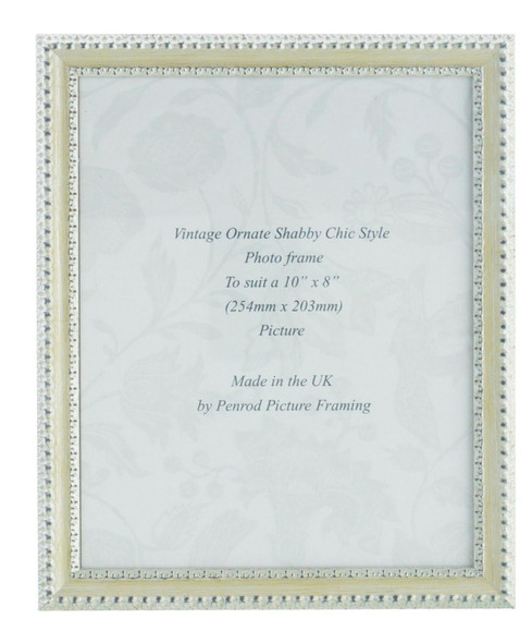 Salzburg Handmade Ornate Distressed Cream and Silver Shabby Chic 10x8 inch Photo Frame.