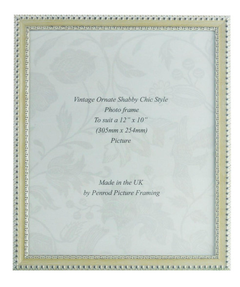 Salzburg Handmade Ornate Distressed Cream and Silver Shabby Chic 12x10 inch Photo Frame.