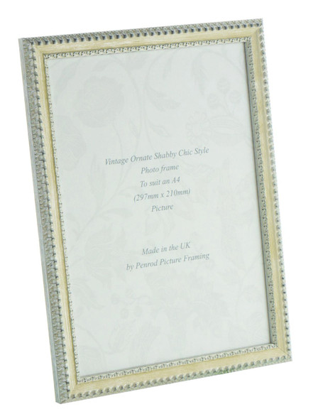 Salzburg Handmade Ornate Distressed Cream and Silver Shabby Chic A4 Photo Frame.