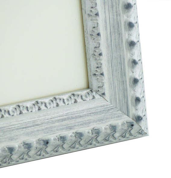 Salzburg Handmade Ornate Distressed White and Silver Shabby Chic 14x11 inch Photo Frame.