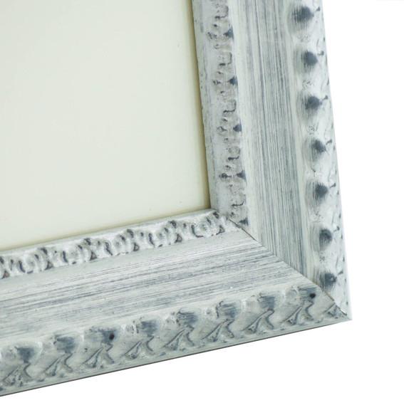 Salzburg Handmade Ornate Distressed White and Silver Shabby Chic 14x11 inch Photo Frame.