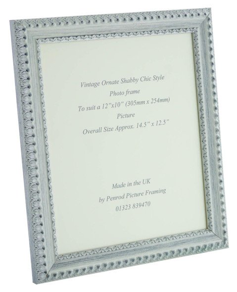 Salzburg Handmade Ornate Distressed White and Silver Shabby Chic 12x10 inch Photo Frame.