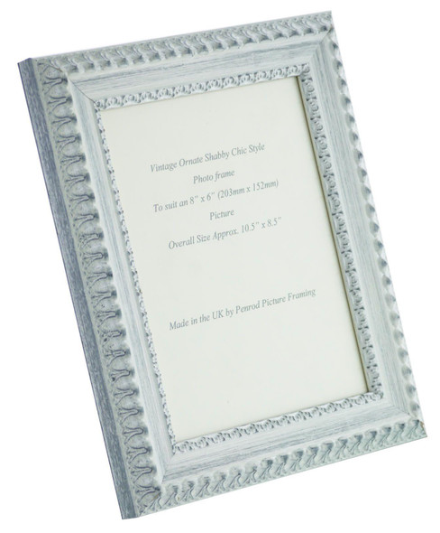 Salzburg Handmade Ornate Distressed White and Silver Shabby Chic 8x6 inch Photo Frame.