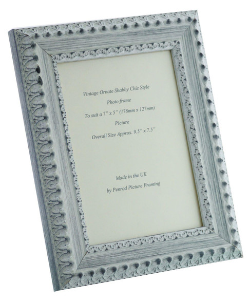 Salzburg Handmade Ornate Distressed White and Silver Shabby Chic 7x5 inch Photo Frame.