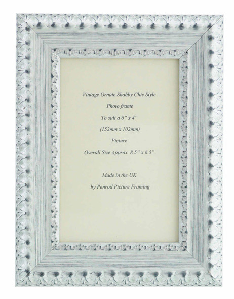 Salzburg Handmade Ornate Distressed White and Silver Shabby Chic 6x4 inch Photo Frame.