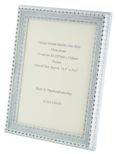 Salzburg Handmade Ornate Distressed White and Silver Shabby Chic A4 Photo Frame.