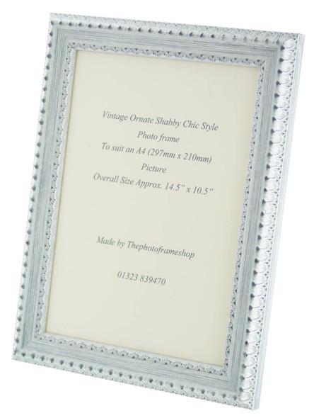 Salzburg Handmade Ornate Distressed White and Silver Shabby Chic A4 Photo Frame.