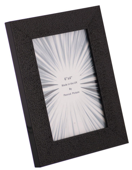 Charleston Shiny Embossed Black 6x4 inch photo frame with mirror effect edge.