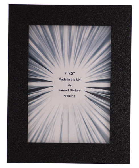 Charleston Shiny Embossed Black 7x5 inch photo frame with mirror effect edge.