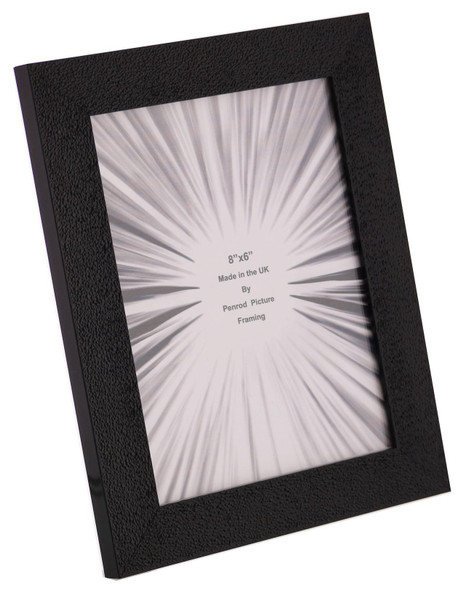 Charleston Shiny Embossed Black 8x6 inch photo frame with mirror effect edge.