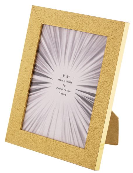 Charleston Shiny Embossed Sparkly Gold 8x6 inch photo frame with mirror effect edge.