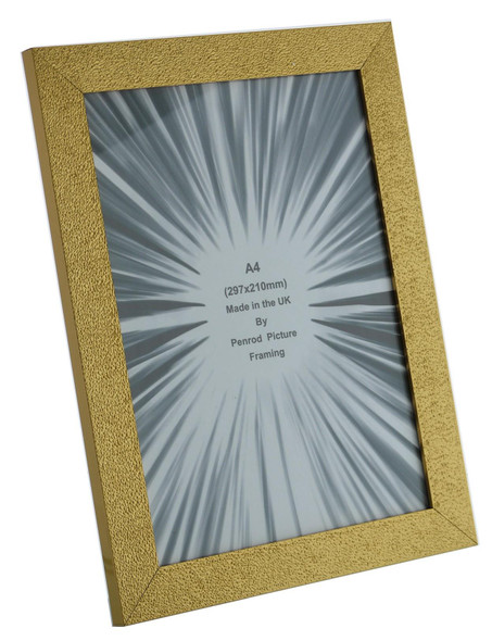 Charleston Shiny Sparkly Embossed Gold A4 photo frame with mirror effect edge.