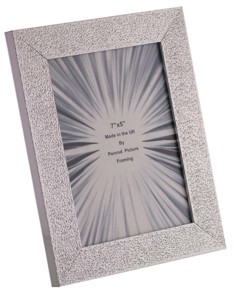 Charleston Shiny Embossed Sparkly Silver 7x5 inch photo frame with mirror effect edge.
