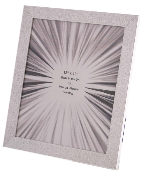Charleston Shiny Embossed Sparkly Silver 12x10 inch photo frame with mirror effect edge.