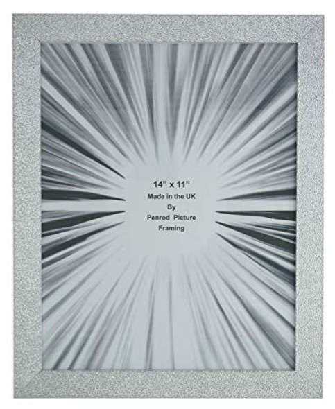 Charleston Shiny Embossed Sparkly Silver 14x11 inch photo frame with mirror effect edge.