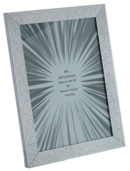 Charleston Shiny Embossed Sparkly Silver A4 Certificate photo frame (297x210mm) with mirror effect edge.