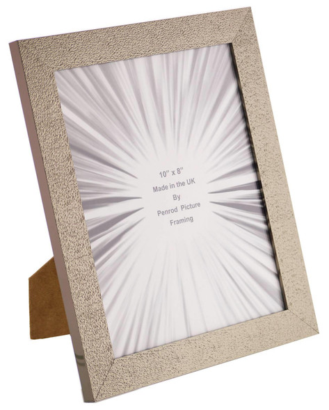 Charleston Shiny Sparkly Embossed Pewter 10x8 inch photo frame with mirror effect edge.