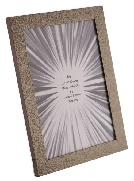 Charleston Shiny Sparkly Embossed Pewter A4 Certificate photo frame (297x210mm) with mirror effect edge.