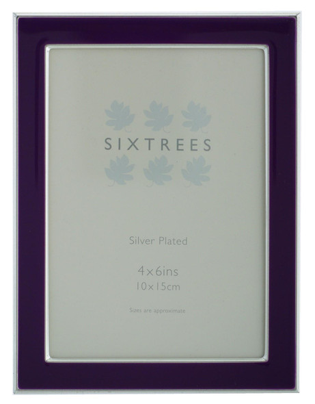 Kew Sixtrees 2-698-46 Silver Plated and Purple Enamel 6x4 inch Photoframe complete with Microfibre Polishing Cloth.