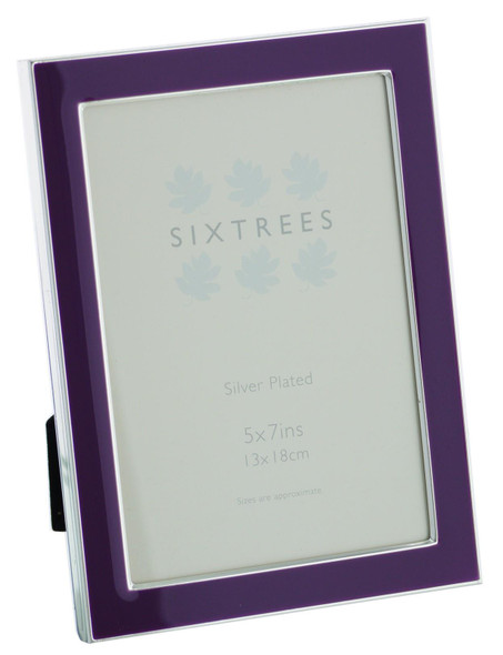 Sixtrees Kew 2-698-57 Silver Plated and Purple Enamel 7x5 inch Photoframe