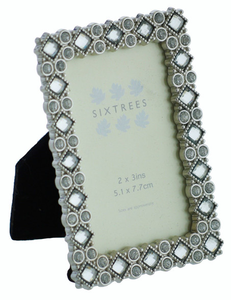 Sixtrees 2-532-23 Bronte Ornate 3x2 inch silver photoframe with clear and blue crystals.