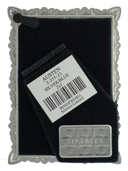 Sixtrees 2-535-23 Austen Ornate 3x2 inch silver photoframe with clear and blue crystals.