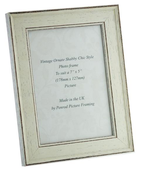 Siena White 7x5 inch  Handmade Shabby Chic  Photo Frame.