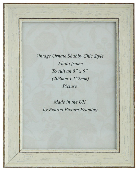Siena White 8x6 inch  Handmade Shabby Chic  Photo Frame.