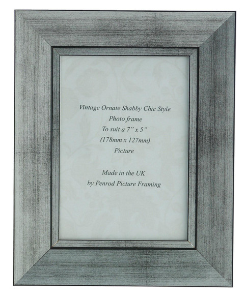 Oslo Silver Handmade 7x5 inch Photo Frame in Modern Distressed Stepped Silver