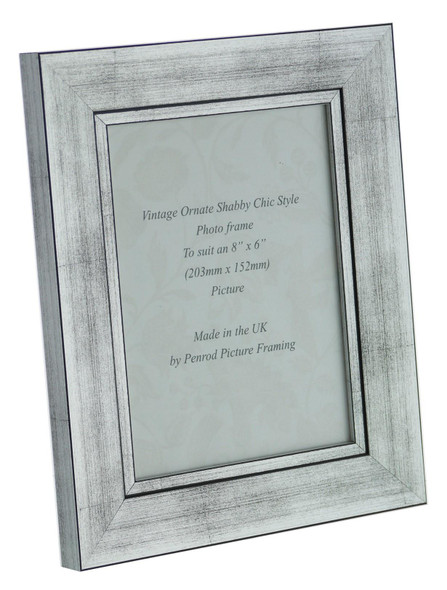 Oslo Silver Handmade 8x6 inch Photo Frame in Modern Distressed Stepped Silver