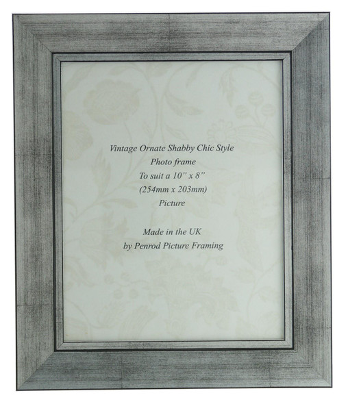 Oslo Silver Handmade 10x8 inch Photo Frame in Modern Distressed Stepped Silver