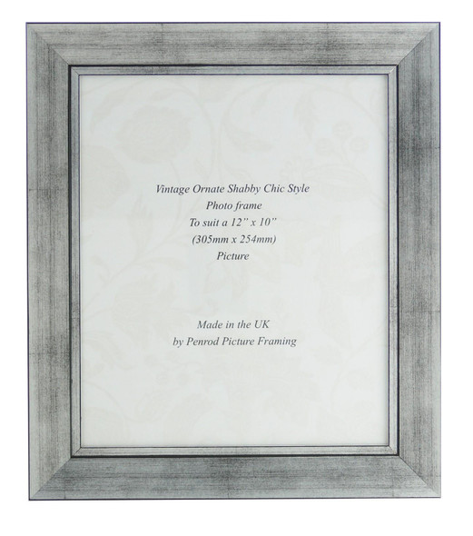 Oslo Silver Handmade 12x10 inch Photo Frame in Modern Distressed Stepped Silver