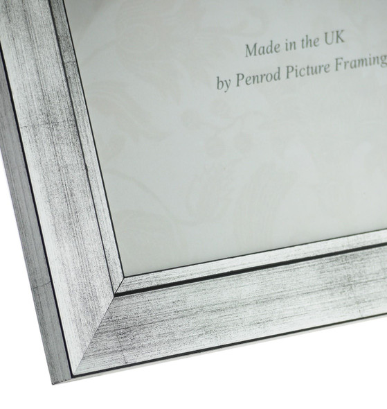 Oslo Silver Handmade 14x11 inch Photo Frame in Modern Distressed Stepped Silver