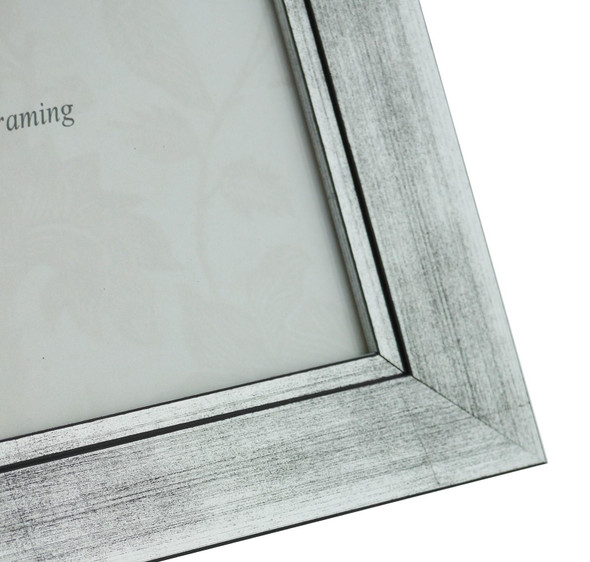 Oslo Silver Handmade 16x12 inch Photo Frame in Modern Distressed Stepped Silver