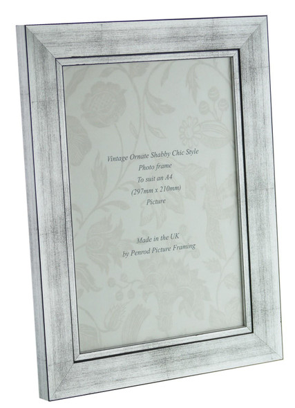 Oslo Silver Handmade A4 Photo Frame in Modern Distressed Stepped Silver
