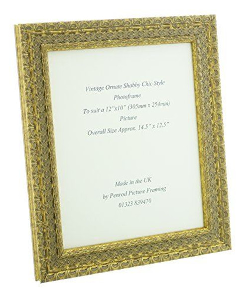 """Handmade Ornate Distressed Gold Shabby Chic Vintage Picture Frame for a 12"""" x 10"""" (305mm x 254mm) Picture"""