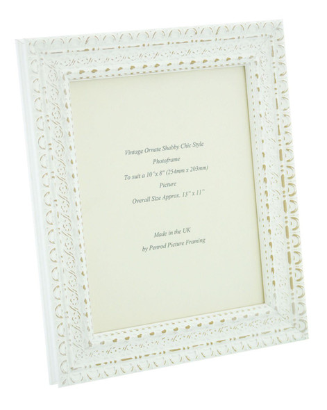 """Handmade Ornate Distressed White Shabby Chic Vintage Picture Frame for a 10"""" x 8"""" (254mm x 203mm) Picture"""
