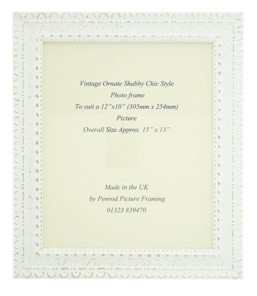 """Handmade Ornate Distressed White Shabby Chic Vintage Picture Frame for a 12"""" x 10"""" (305mm x 254mm) Picture"""