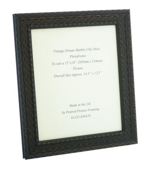 """Handmade Ornate Distressed Black Shabby Chic with dark brown highlights Vintage Picture Frame for a 12"""" x 10"""" (305mm x 254mm ) Picture."""