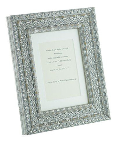 """Handmade Ornate Distressed Antique Silver Shabby Chic Vintage Picture Frame with a single mount for a 5"""" x 3.5"""" (127mm x 89mm) Photo"""