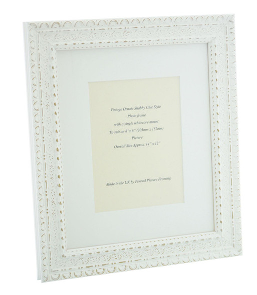 """Handmade Ornate Distressed Antique White Shabby Chic Vintage Picture Frame with a single mount for an 8"""" x 6"""" (203mm x 152mm) Photo."""