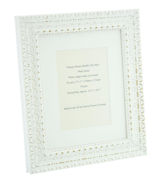 """Handmade Ornate Distressed Antique White Shabby Chic Vintage Picture Frame with a single mount for a 7"""" x 5"""" (178mm x 127mm) Photo"""