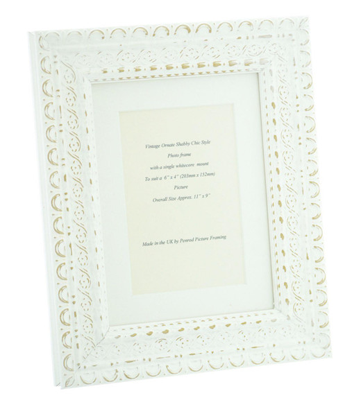 """Handmade Ornate Distressed Antique White Shabby Chic Vintage Picture Frame with a single mount for a 6"""" x 4"""" (152mm x 102mm) Photo"""