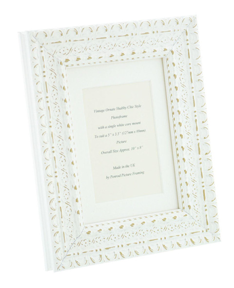 """Handmade Ornate Distressed Antique White Shabby Chic Vintage Picture Frame with a single mount for a 5"""" x 3.5"""" (127mm x 89mm) Photo"""