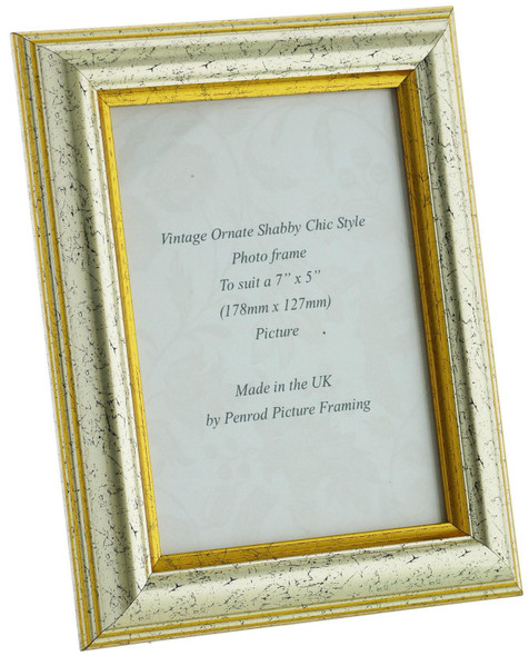Sorrento Silver Handmade 7x5 inch  Photo Frame Distressed with  gold highligh