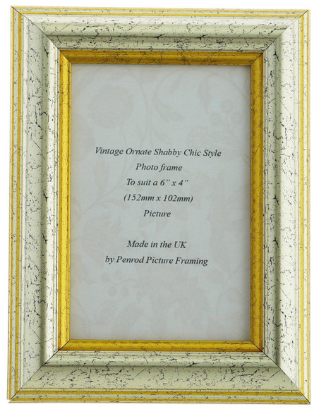 Sorrento Silver Handmade 6x4 inch  Photo Frame Distressed with  gold highligh