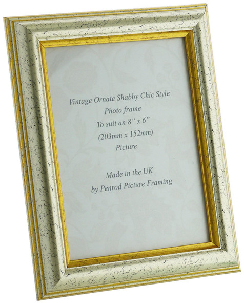 Sorrento Silver Handmade 8x6 inch  Photo Frame Distressed with  gold highlight