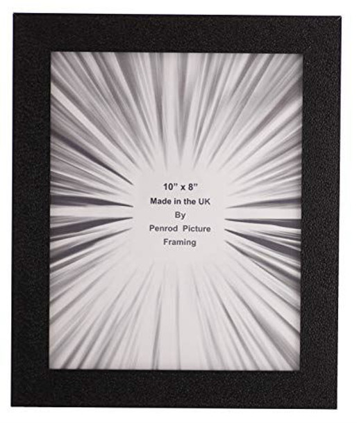 Penrod Picture Framing Charleston Shiny Embossed Black 10x8 inch photo frame with mirror effect edge.