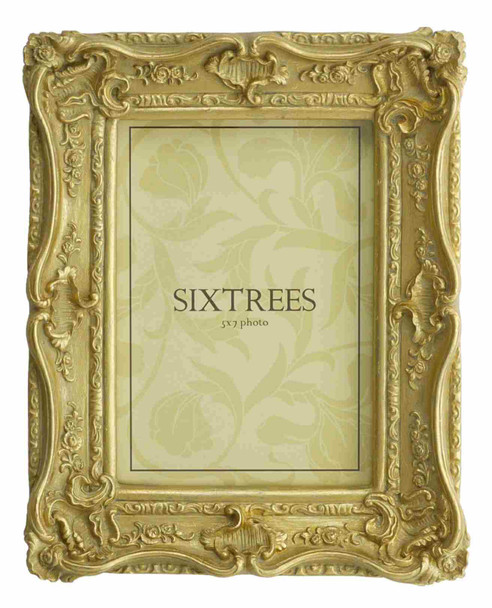 Sixtrees Chelsea 5-250-57 Shabby Chic Style Very Ornate Gold Photo 7x5 inch Frame