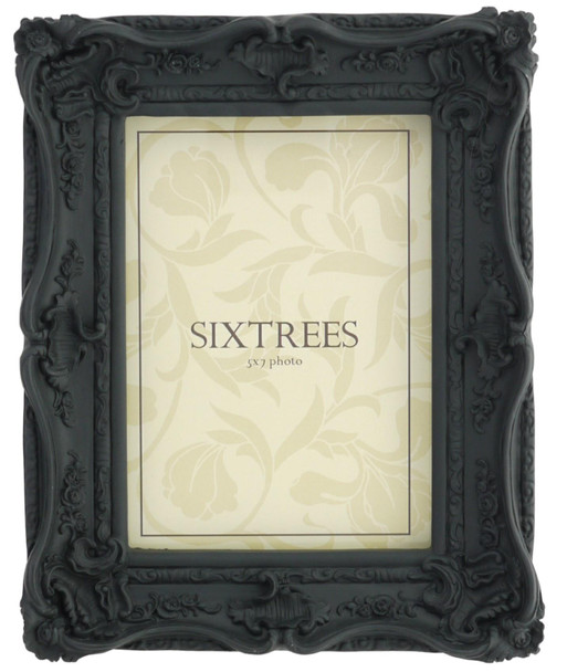 Sixtrees Chelsea 5-253-57 Shabby Chic Ornate Swept Black 7x5 inch  Photoframe